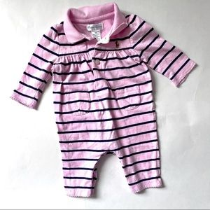 Ralph Lauren Pink Navy Blue Striped Polo One-Piece
